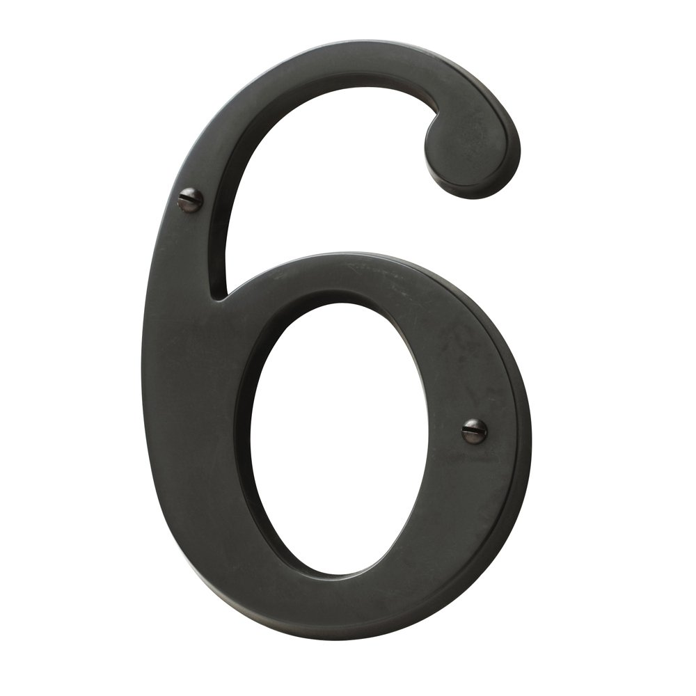Baldwin Estate 90676.102.CD Solid Brass Traditional House Number Six in Oil Rubbed Bronze, 4.75''