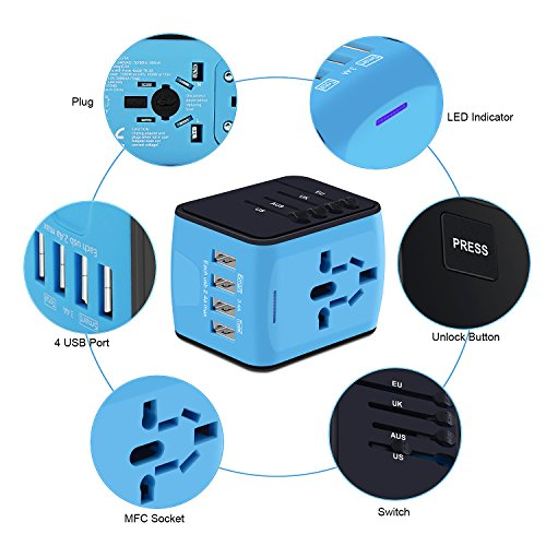 Universal Travel Adapter, International Power Adapter with 4 USB,European Adapter for UK,US,AU,India 150+ Countries,All in One Travel Plug Adapter for iPhone, Android,All USB Devices by HUANUO (Image #3)