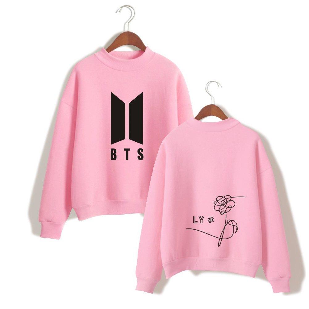 XIAOMEI BTS New Logo Women Sweater Round High Neck Fleece Pullover Hoodie Sweatshirts Casual Cotton Printed Love Yourself