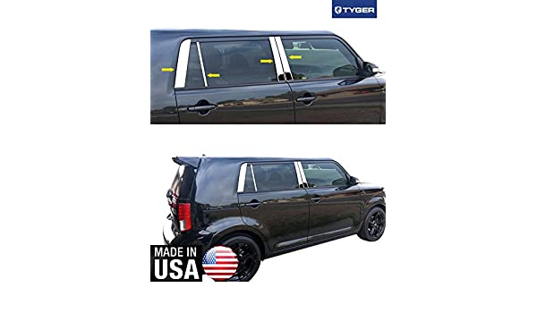 Works with 2008-2015 Scion XB 8PC Stainless Steel Chrome Pillar Post Trim Made in USA