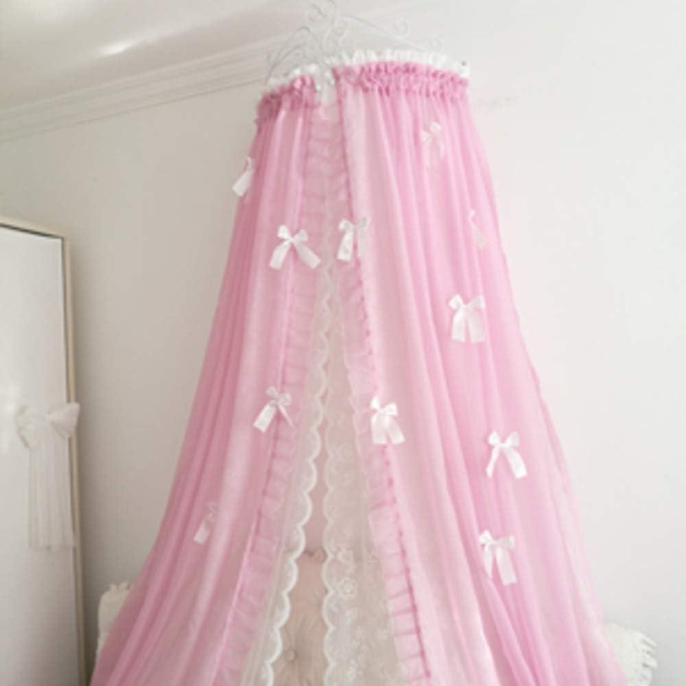 姫ベッドキャノピー,装飾的なドレープと金属の王冠が付いている裁判所シフォンベッドカーテン 弓-寝室のための結び目-c