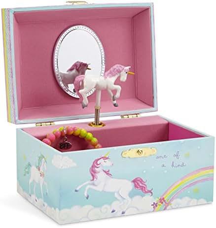 JewelKeeper Girl's Musical Jewelry Storage Box with Spinning Unicorn, Rainbow Design, The Unicorn Tune