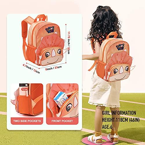 Toddler Backpack,Kids mini backpack for Girls Boys, Preschool Nursery Kindergarten Travel Bag - Dinosaur Design (Orange, 11.75x9x4.7 inch)