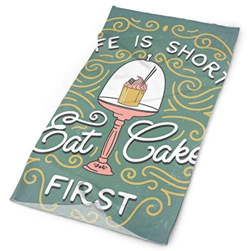 Headwear Headband Head Scarf Wrap Sweatband,Vintage Design Life Is Short Eat Cake First Lettering With Cute Cupcake In Service,Sport Headscarves For Men Women