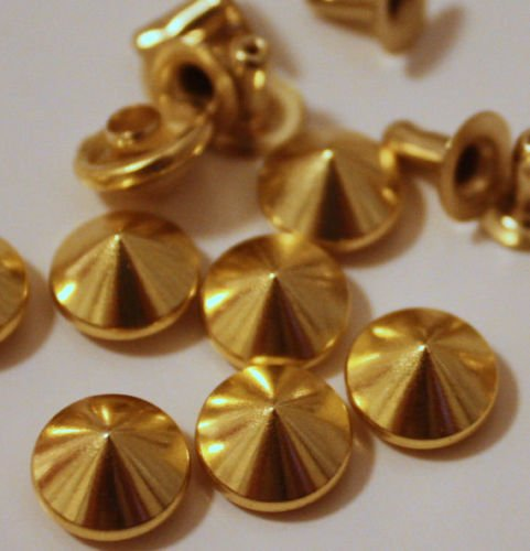 ARTS AND CRAFTS SUPPLIES 50pcs 6mm Gold Cone Rivets Studs Nailhead Punk Rock Biker - Cone Gold Rivet