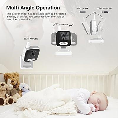 "Aurola Baby Monitor with 3.5"" LCD Screen, Digital Camera, Infrared Night Vision, Two-Way Talk Back, Lullabies, Long Range, Temperature Monitoring, and High Capacity Battery, Black"