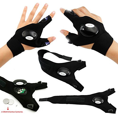 Oct17 LED Flashlight Cycling Gloves, 2 LED Flashlight Torch Magic Strap Glove, For Repairing and Working, Outdoor Activities, Rescue, Sporting, Fishing, Camping, Hiking, HANDY MECHANIC (Gloves With Lights On Fingertips)