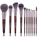 Makeup Brushes 11pcs Walnut Handle Makeup Brush Set Professional Cosmetics Brush Set Makeup Beauty Tools with Foundation Face Blending Blush Concealer Brow Eye Shadow Brushes