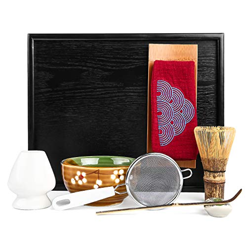 Mocha ChaDao MATCHA Traditional Tea Set | Purple Bamboo Whisk & Tea Scoop | Matcha Bowl | Ceramic White Whisk Holder | Black Bamboo Tray |Tea Cloth | Tea Cloth holder | Scoop holder| Metal (RED) ()