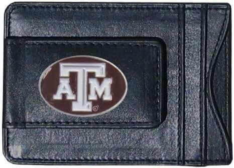 Texas A&M Aggies Fine Leather Money Clip - Black