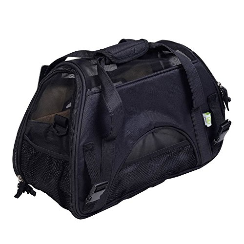 YUDODO Pet Carrier Airline Approved, Soft-Sided Pet Travel Carrier for Little Petite Dogs and Cats-with Fleece Pads and Storage Case, Machine Washable (Black)