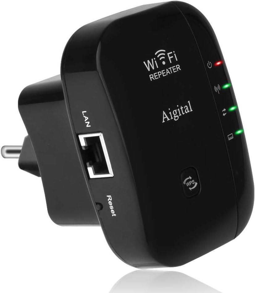 Repetidor de Red WiFi Extensor Amplificador de Signal 300Mbps/ 2.4GHz Extensor Inalámbrico señal Booster Repetidor Portátil Wireless Repeater(WPS, 100mbps Puerto LAN, 2 Antenas Integradas)