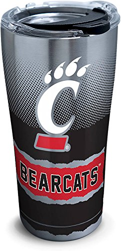 Tervis 1266036 Cincinnati Bearcats Knockout Stainless Steel Tumbler with Clear and Black Hammer Lid 20oz, Silver - Cincinnati Bearcats Stainless Steel