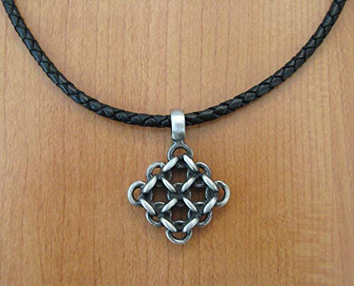Pewter Diamond Weave Pendant Necklace ()