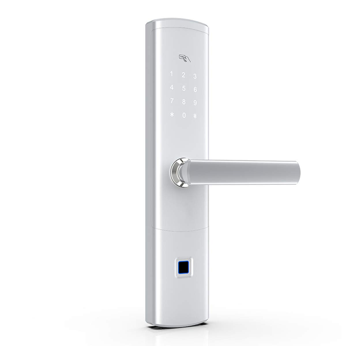 Love of Life Fingerprint Smart Door Lock keyless Entry Lock APP Remote one-Button Unlock, Voice Prompt,FPC high Precision Fingerprint Reader,Silver