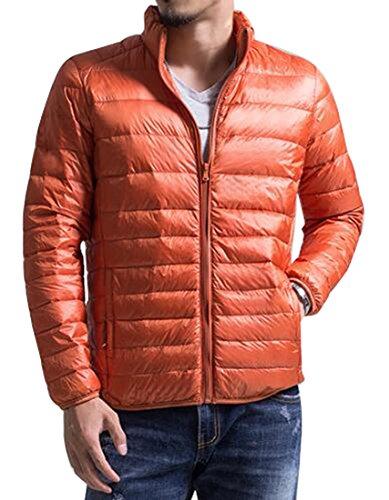 Del Collare Giù Sportiva Basamento Mk988 Tuta Del Rivestimento Leggero Mens Inverno Il Riscaldano Cappotto Arancione PFT700n