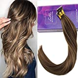 "LaaVoo 14"" 100% Keratin Human Hair Micro Beads Balayage Color Dark Brown mix Caramel Blonde Pre Bonded Nano Ring Hair Extensions Remy Human Hair Micro Rings 1g/strand 50g (#4/27)"