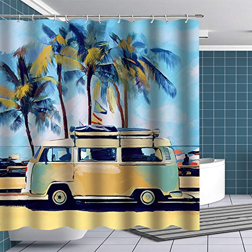 BTTY Premium Shower Curtain Oil Painting Retro Tour Bus on Sandbeach with Palm Trees Shower Curtain with Hooks Vacation Funny Fabric Bathroom Curtain Sets VW Bus Bathroom Decoration 70x70 Inches