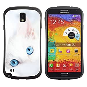 Suave TPU GEL Carcasa Funda Silicona Blando Estuche Caso de protección (para) Samsung Note 3 / CECELL Phone case / / Cute White Kitten Winter Clean Baby Blue /