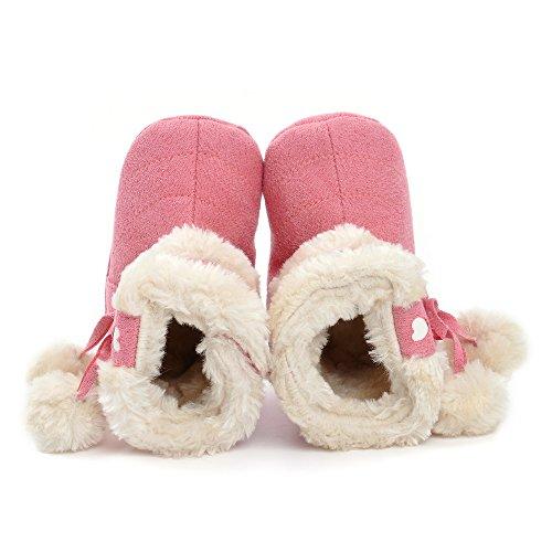 Botas de bebé de invierno, diseño de peluche con lazo rosa claro Talla:6-12 meses rosa