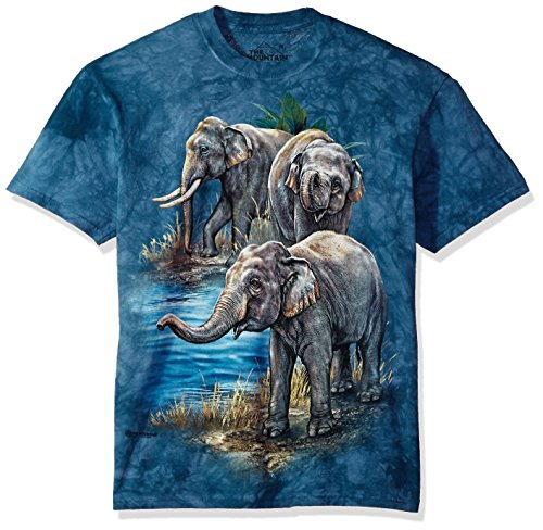 - The Mountain Asian Elephants Adult T-Shirt, Blue, Small