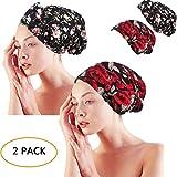 Gracmyron Cotton Sleeping Cap Chemo Bonnet Turban Multipurpose Headwear with Long Drawstring(One Size, Cotton Black& red 2 Pairs)
