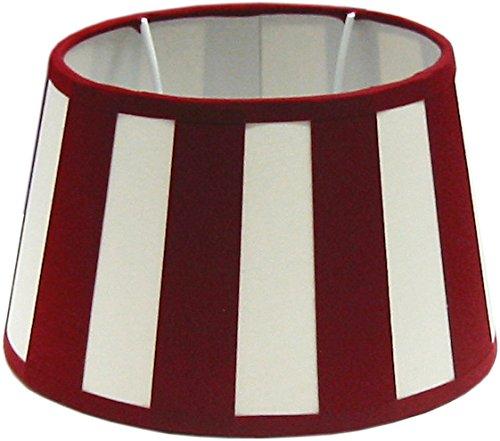 Tisch-Lampenschirm, Chintz.*oval*, Balkenstreifen rot/creme / Du=20 / Do=15 Hschrä g=12cm Befestigung unten E27 (optional lieferbar Reduzierring auf E14) vs