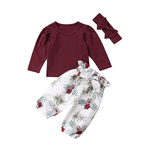 25f7ffd6b64 Amazon.com  Infant Toddler Baby Girls Outfit Clothes for 6-24M Cuekondy  Long Sleeve T-Shirt Tops+Floral Pants +Headband 3PCS Set  Clothing