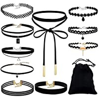 Black Friday Sale GreatFun Fashion Choker Necklace Set Stretch Velvet Classic Gothic Tattoo Lace Choker (10PCS)