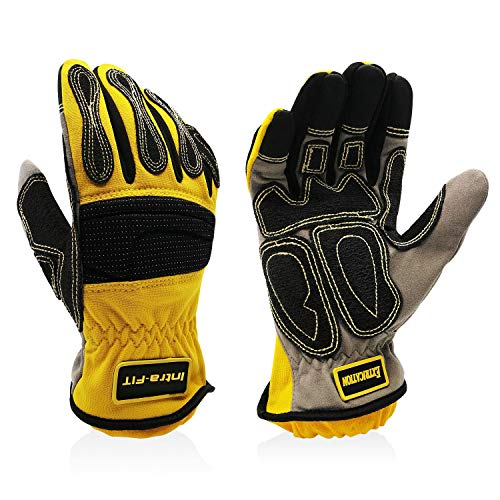 Intra-FIT Impressive Extrication Gloves, Cut Resistant Work Gloves, Protective Oil and Water Repellent, Yellow