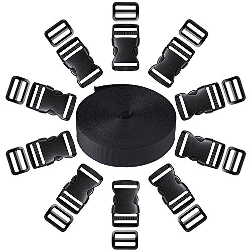 Coopay 1 Inch Plastic Buckles Kit Include 11 Yards Black Nylon Webbing Strap, 10 Pack Side Release Plastic Buckles and 10 Pack Tri-Glide Slides ()