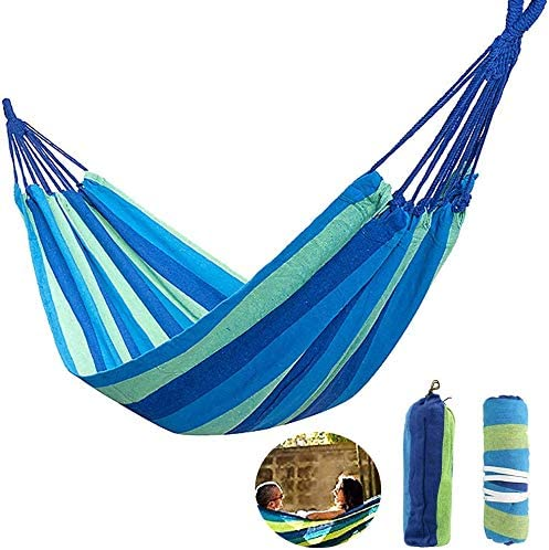 weiqingshipin Double Hammock Outdoor Swing Canvas Hammock Strong and Durable 18 net Rope Super Load-Bearing
