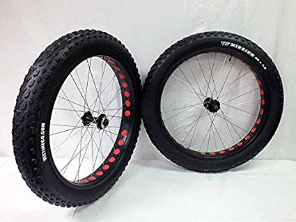 Amazon Com 26 Inch Fat Tire Bike Bicycle Wheels 26 X 4 0 Mission Tires And Tubes 135 170mm Sports Outdoors