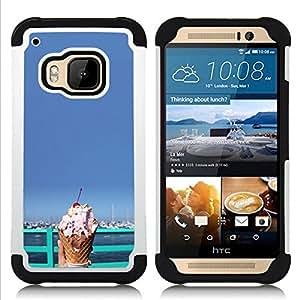 /Skull Market/ - Ice Cream Summer For HTC ONE M9 - 3in1 h????brido prueba de choques de impacto resistente goma Combo pesada cubierta de la caja protec -