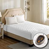 Beautyrest - Cotton Blend Heated Mattress Pad Twin XL Size – Secure Comfort Technology – Luxury Quilted Electric Mattress Pad with Deep Pocket - White - 5-Setting Heat Controller - 5 Years Warranty
