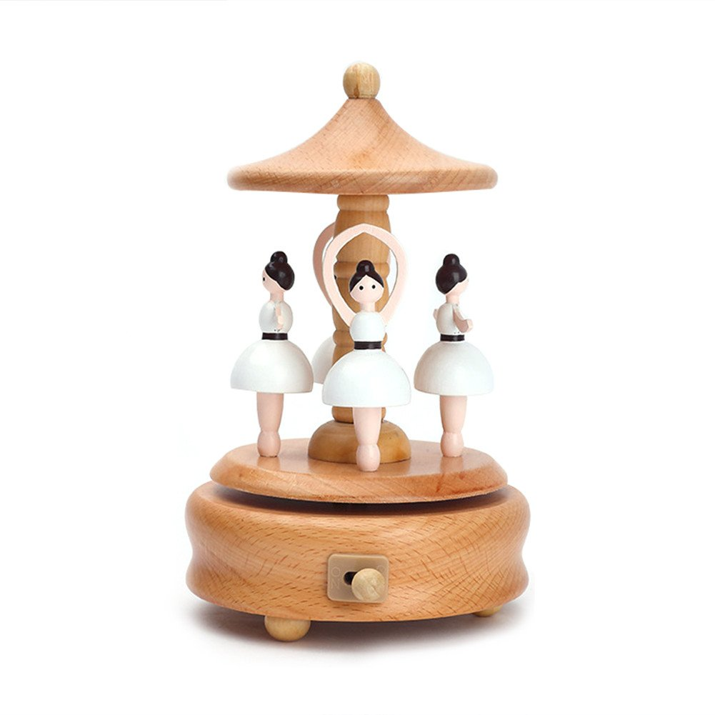 Wooden Music Box Dance Angel Toy Decoration Birthday Present Christmas Gift for Kids