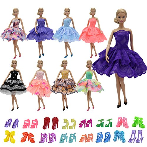 ZITA ELEMENT 5PCS Fashion Mini Summer Barbie Dress+5 Shoes For Barbie Doll Clothes - Handmade Short Party Dress Costume