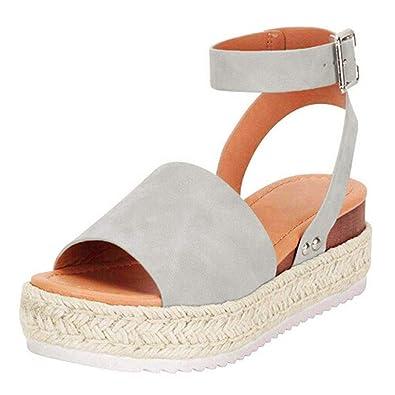 Poplover Womens Open Toe Flatform Espadrilles Buckle Ankle Strap Sandals