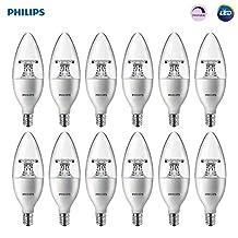 Philips 461863 40W Equivalent Soft White Dimmable B11 LED Light Bulb, Candelabra Base, 12 Pack
