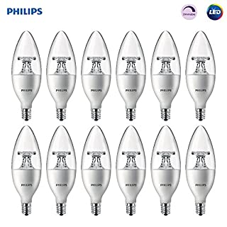 Philips LED Dimmable B11 Clear Candle Light Bulb: 300-Lumen, 5000-Kelvin, 4.5-Watt (40-Watt Equivalent), E12 Base, Daylight, 12-Pack