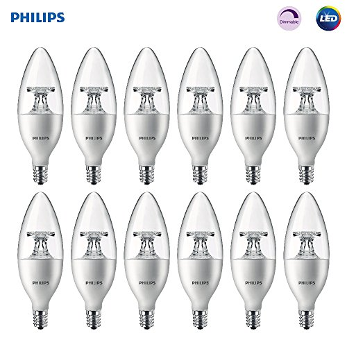 Philips LED Dimmable B11 Clear Candle Light Bulb: 300-Lumen, 2700-Kelvin, 4.5-Watt (40-Watt Equivalent), E12 Base, Soft White, 12-Pack ()
