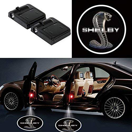JiangJing 2 Pcs Wireless Car Door Led Welcome Laser Projector Logo Light Ghost Shadow Light Lamp Logos for Ford Mustang Shelby Logo