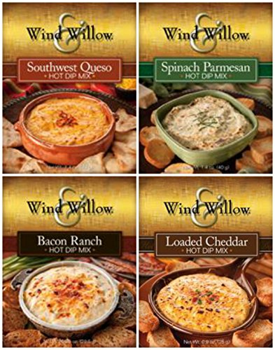 Hot Vegetable Spread (Wind & Willow Hot Dip Mix 4 Flavor Variety Bundle: Spinach and Parmesan, Southwest Queso, Loaded Cheddar and Bacon Ranch (4 Packs Total))