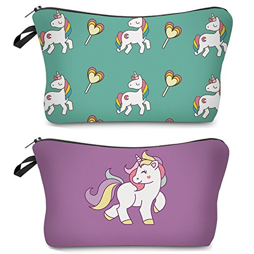 Unicorn Makeup Bag,Funny Cosmetic Pouch Small Clutch Wallet for Women,Travel Waterproof Handbag 3D Printing Pencil Holder/Pen Cases Accessories Organizer/Cash Purse-2pcs/set (Green Purple) ()