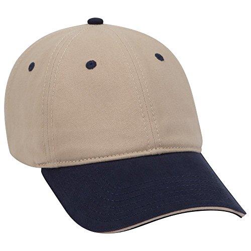 - OTTO Garment Washed Cotton Twill Sandwich Visor 6 Panel Low Profile Dad Hat - NVY/KHA/KHA