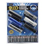 SuperBright 75-6262 6 Pack of Aluminum 9-LED Flashlights with Batteries