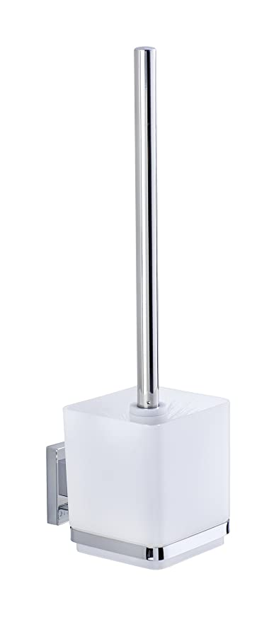 STAINLESS STEEL FREE STANDING SQUARE TOILET BRUSH HOLDER AND BRUSH QUADRA BATH