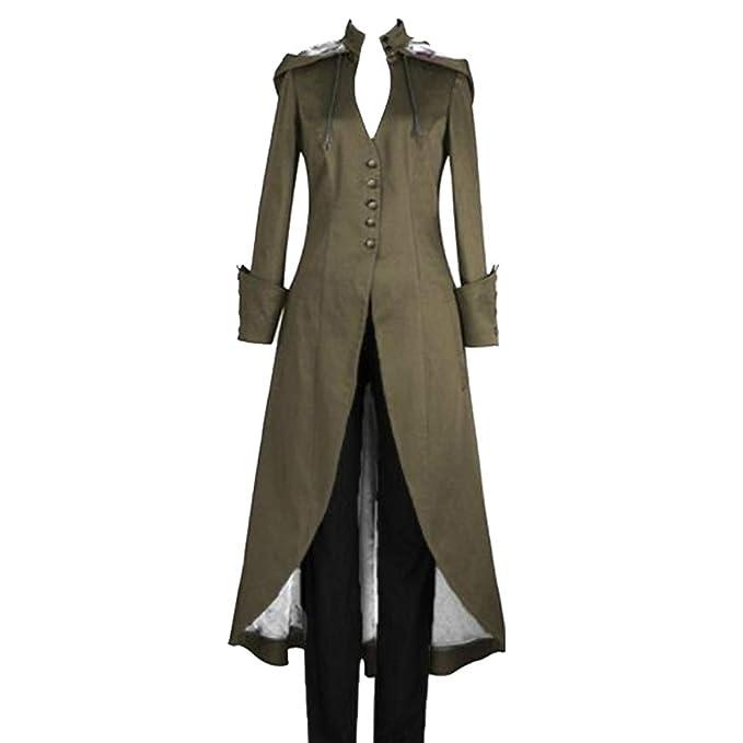 Mujer Vintage Steampunk Swallowtail Tailcoat con Capucha Suelto Largo Abrigo Ropa Retro Uniforme Chaqueta Color Sólido Gotico Victorian Chaqueta ...
