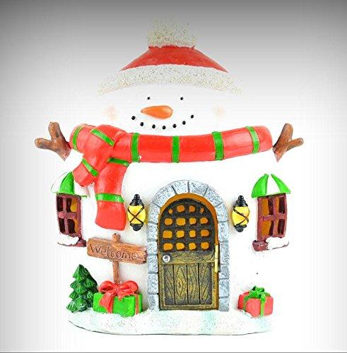 (Fairy Garden Fun Christmas Snowman Fairy House Red Scarf LED Lighted Miniature - My Mini Fairy Garden Dollhouse Accessories for Outdoor or House Decor)