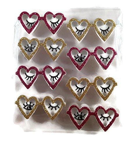 Valentine 3d Glitter Heart Eyeglasses Stickers, 8 Pieces